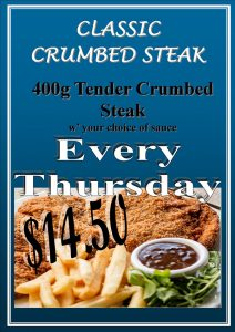 Thursday  Lunch Crumbed Steak