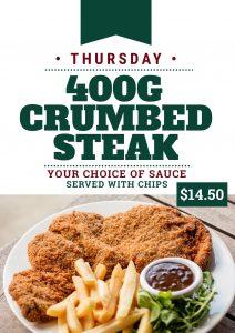 Thursday Dinner Crumbed Steak